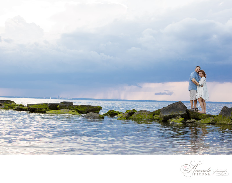 North Shore Long Island engagement photography on rocks in water