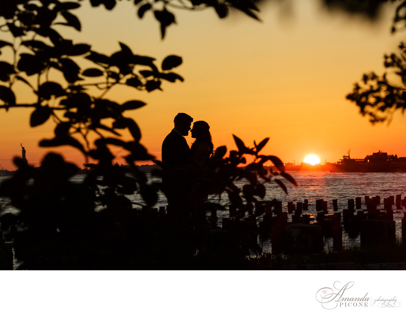 Brooklyn NYC engagement photography sunset silhouette