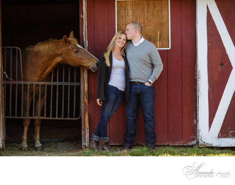 New Jersey engagement photography on farm with horse