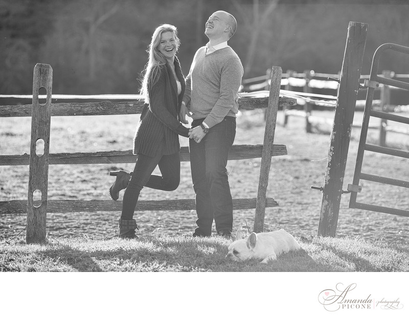 Black and white NJ engagement photo at farm
