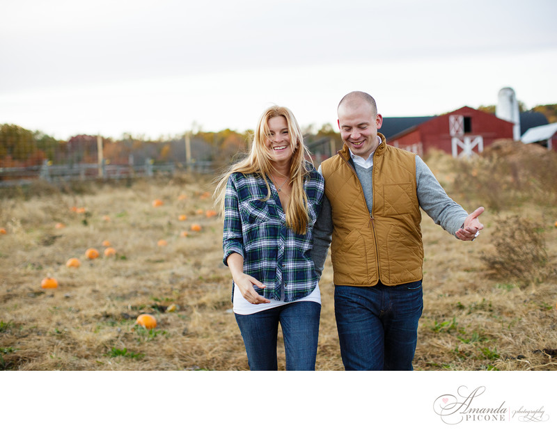 New Jersey engagement photos on farm in fall