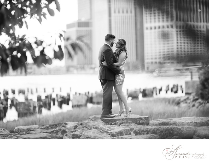 Brooklyn Bridge Park Engagement Photography Black and White