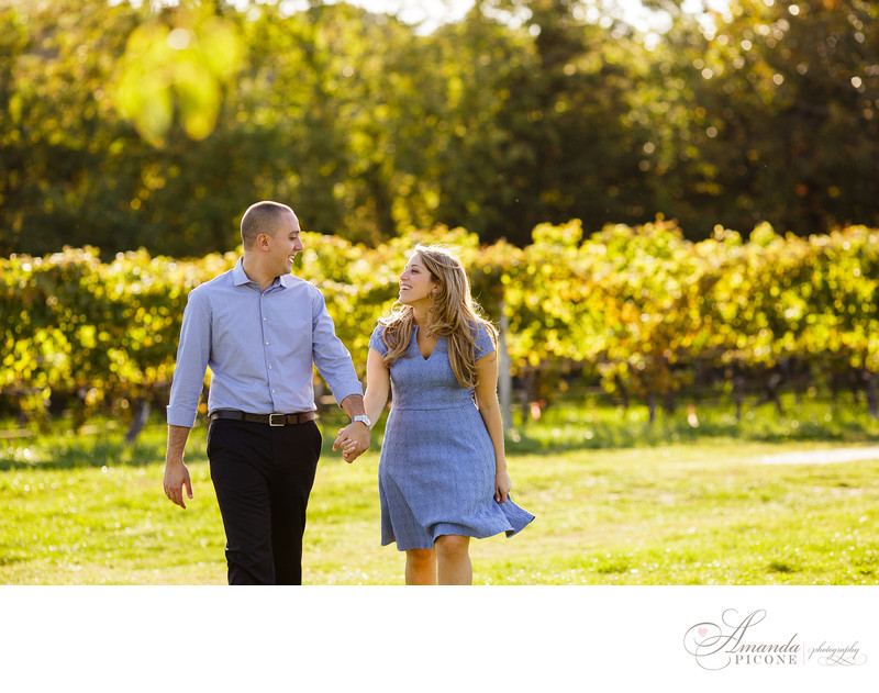 North Fork Long Island vineyard engagement photography