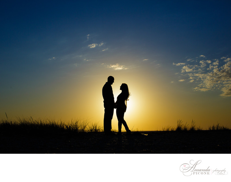 North fork Long Island Engagement Beach Sunset Silhouette