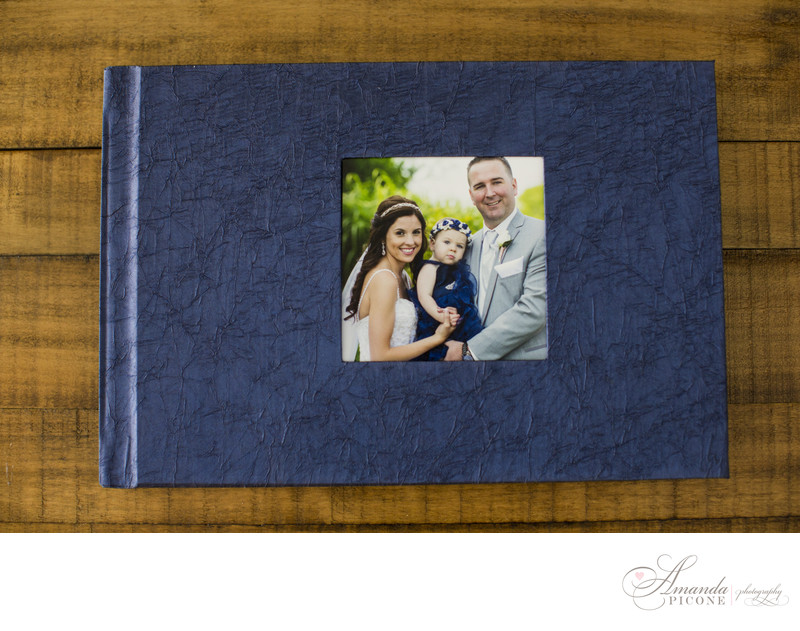 Blue and White photo album Long Island wedding photos