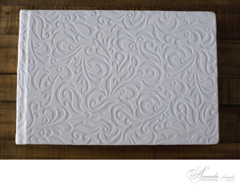 White leather photo album Long Island Photographer