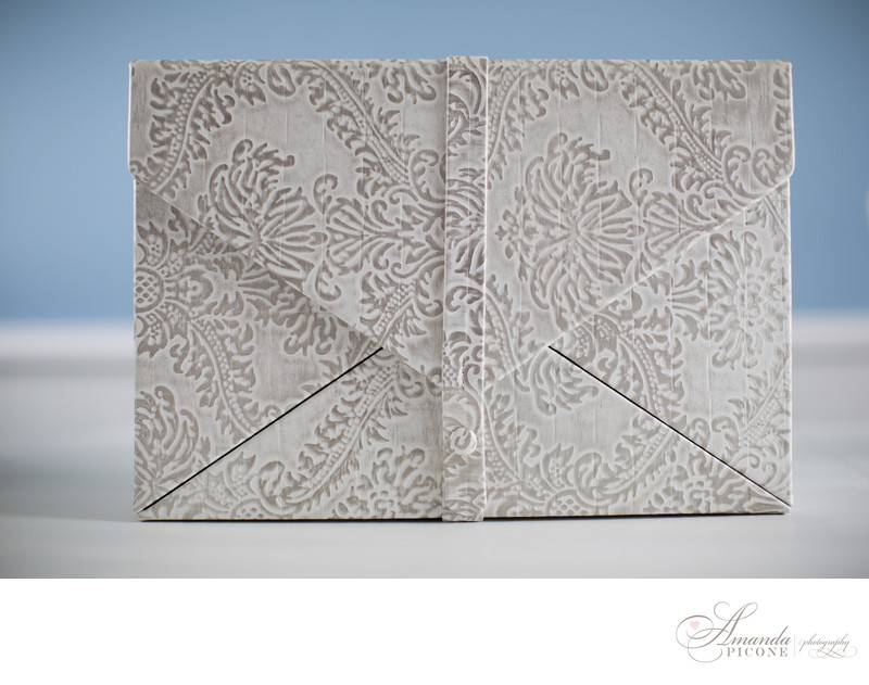 White leather wedding album case NYC photographer