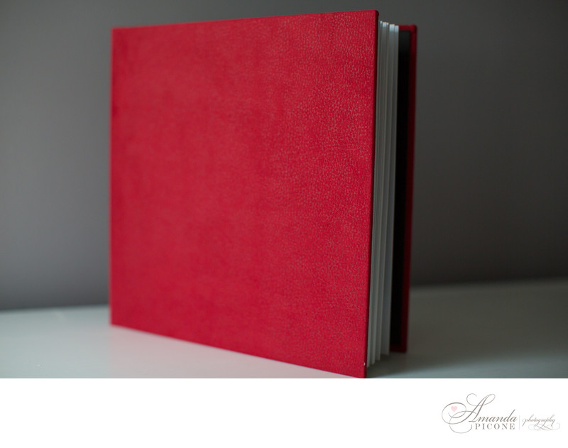 Red wedding photo album Long Island Photographer