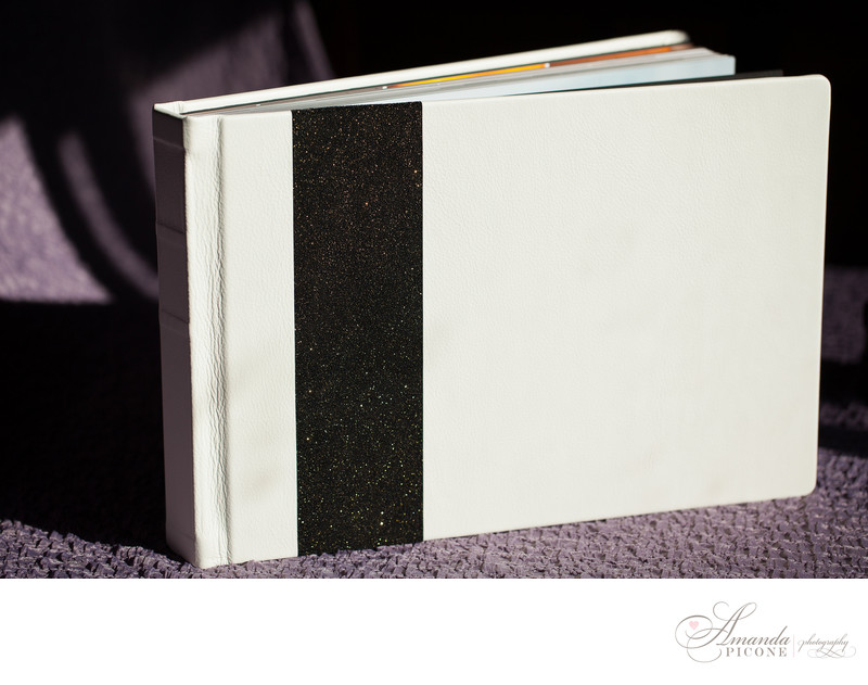 Black and white leather wedding photo album