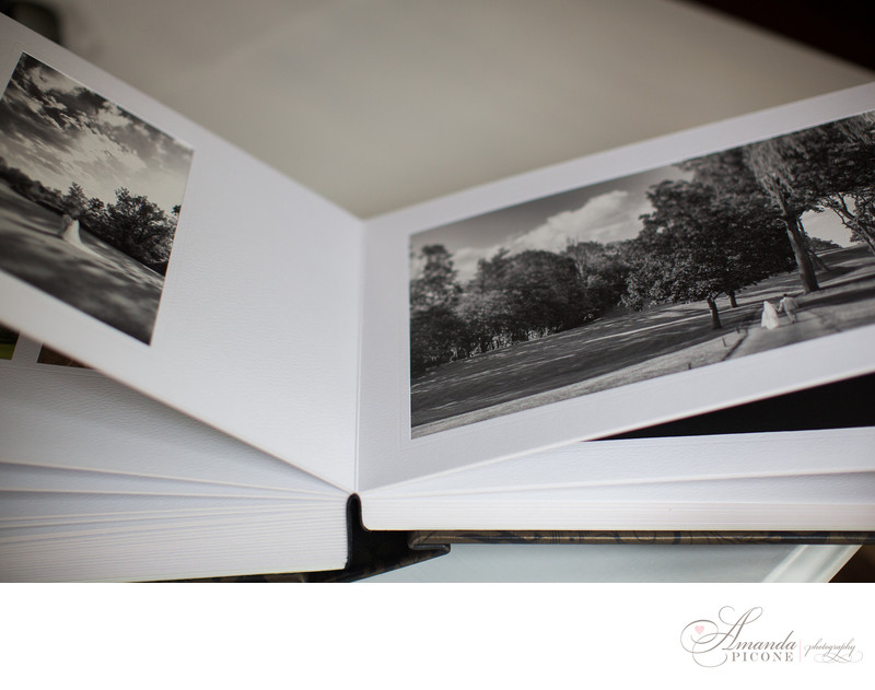 Black and white wedding album Long Island Photography