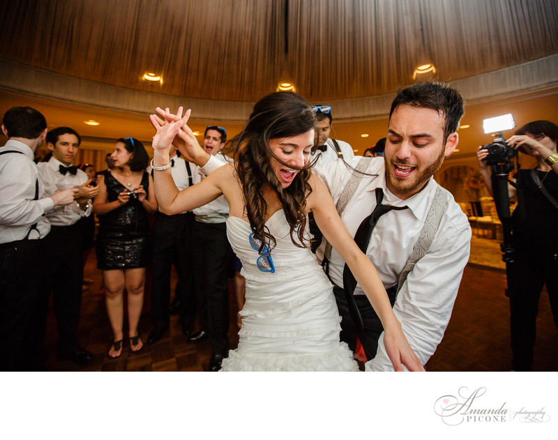 Bride and groom dance at Woodside Acres Country Club