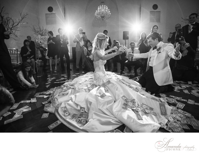 Greek money dance bride and groom at Bourne Mansion