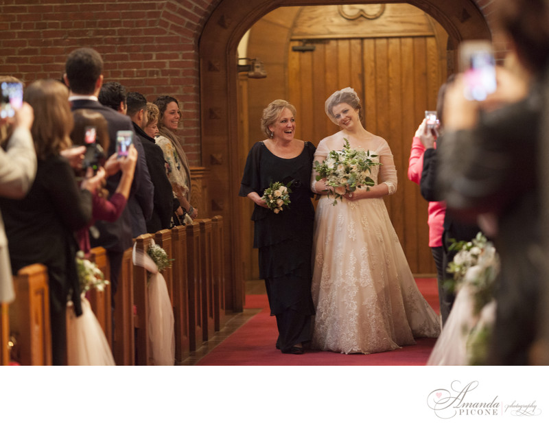 Mom escorts bride down the aisle in church