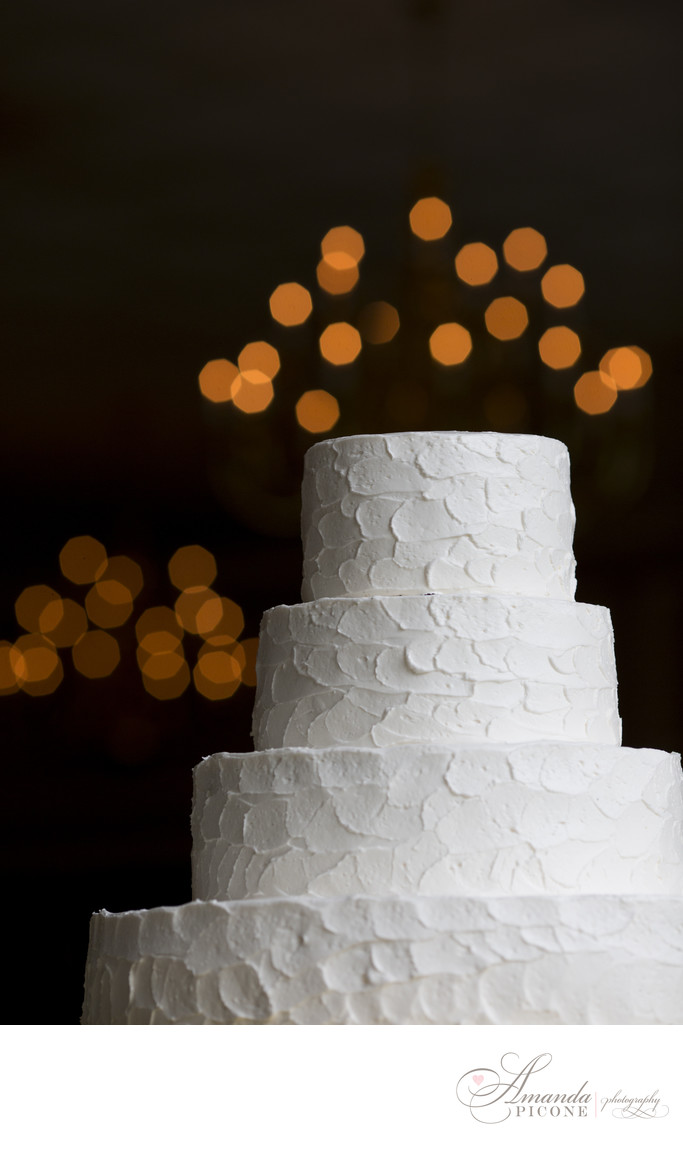 Wedding cake with lights and buttercream frosting