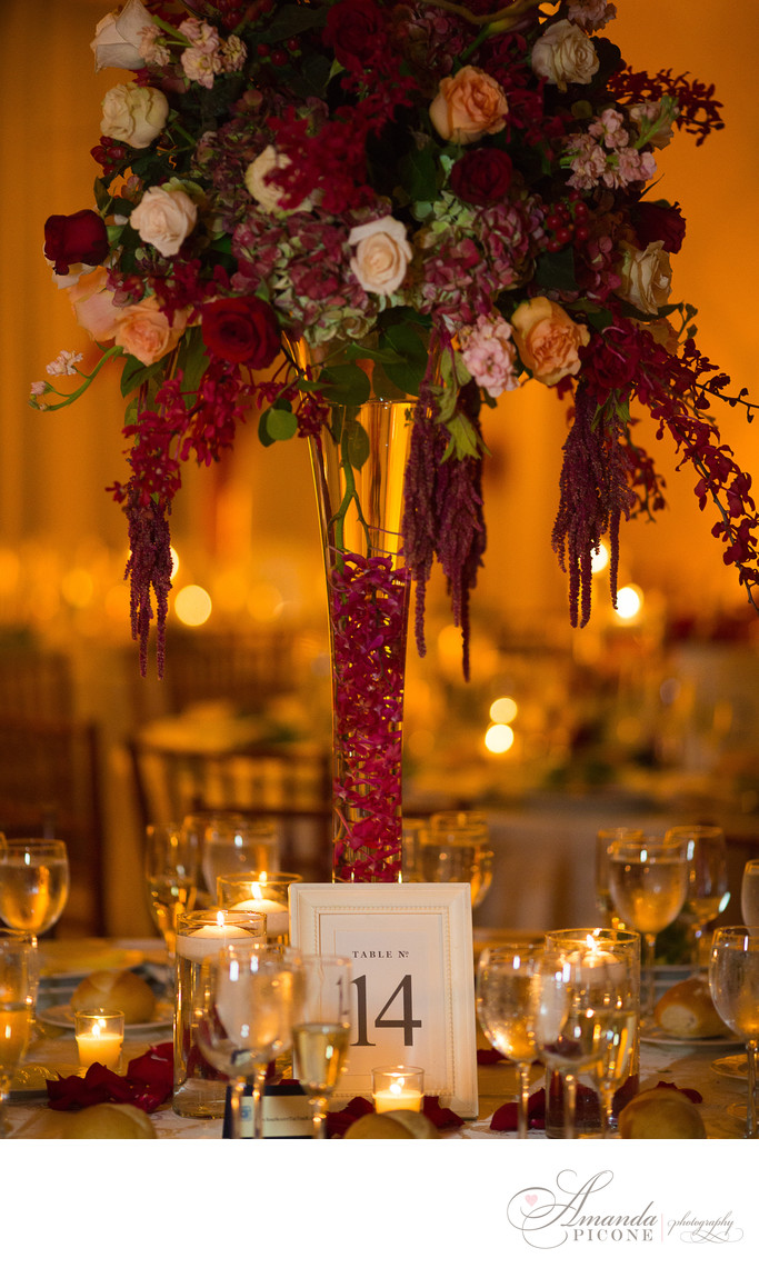Rose and orchid wedding centerpiece for reception