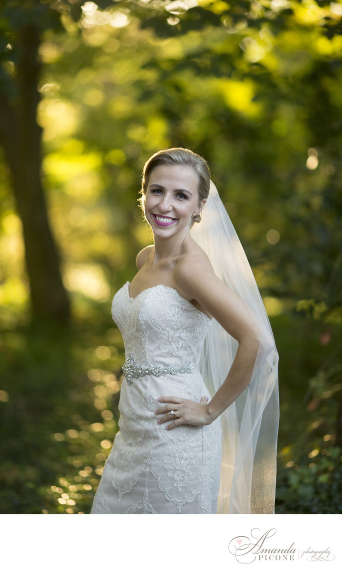 Bride portrait at sunset Planting Fields Oyster Bay NY
