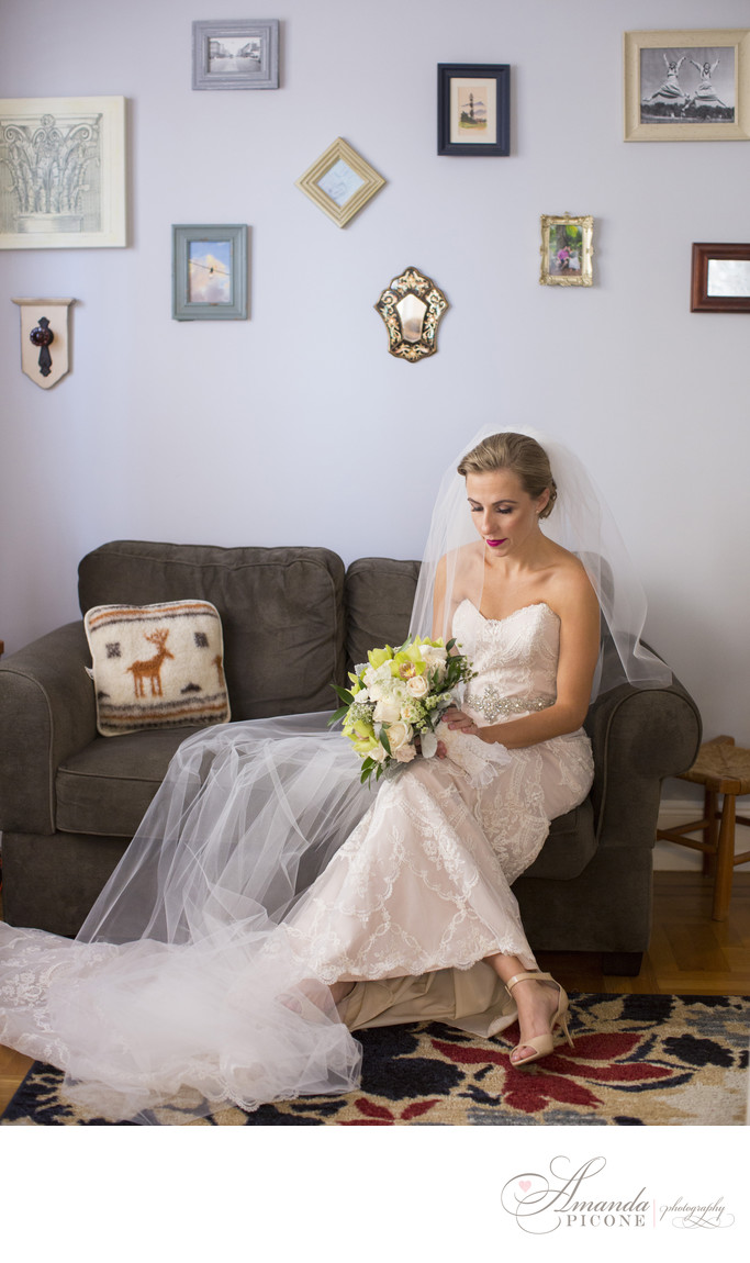 Portrait of bride alone before wedding ceremony