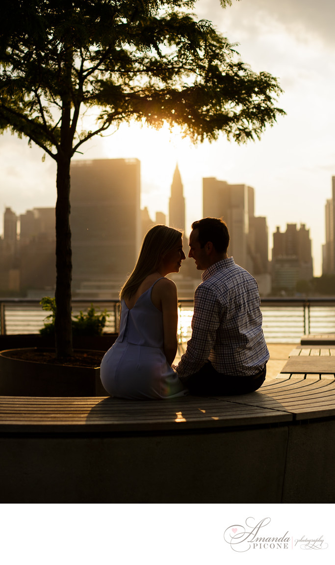 Long Island City engagement photography sunset silhouette