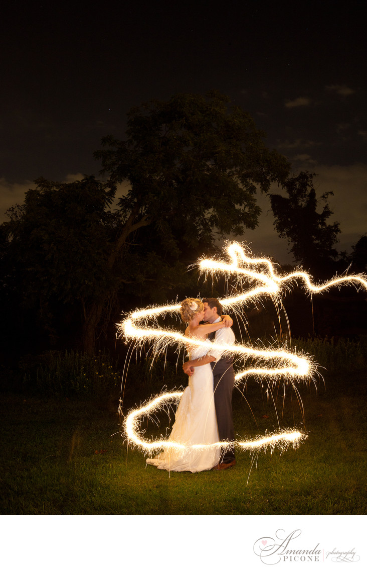Bride and groom encircled by sparkler at night