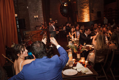 Bride and Groom toast wedding guests MyMoon Brooklyn