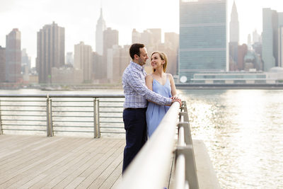 Long Island City Engagement Photos overlooking Manhattan