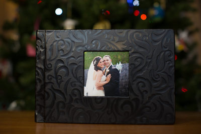 Black leather wedding album from NJ wedding photographer