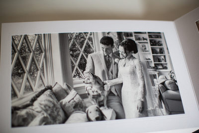 Black and White wedding album with Dog Photographer