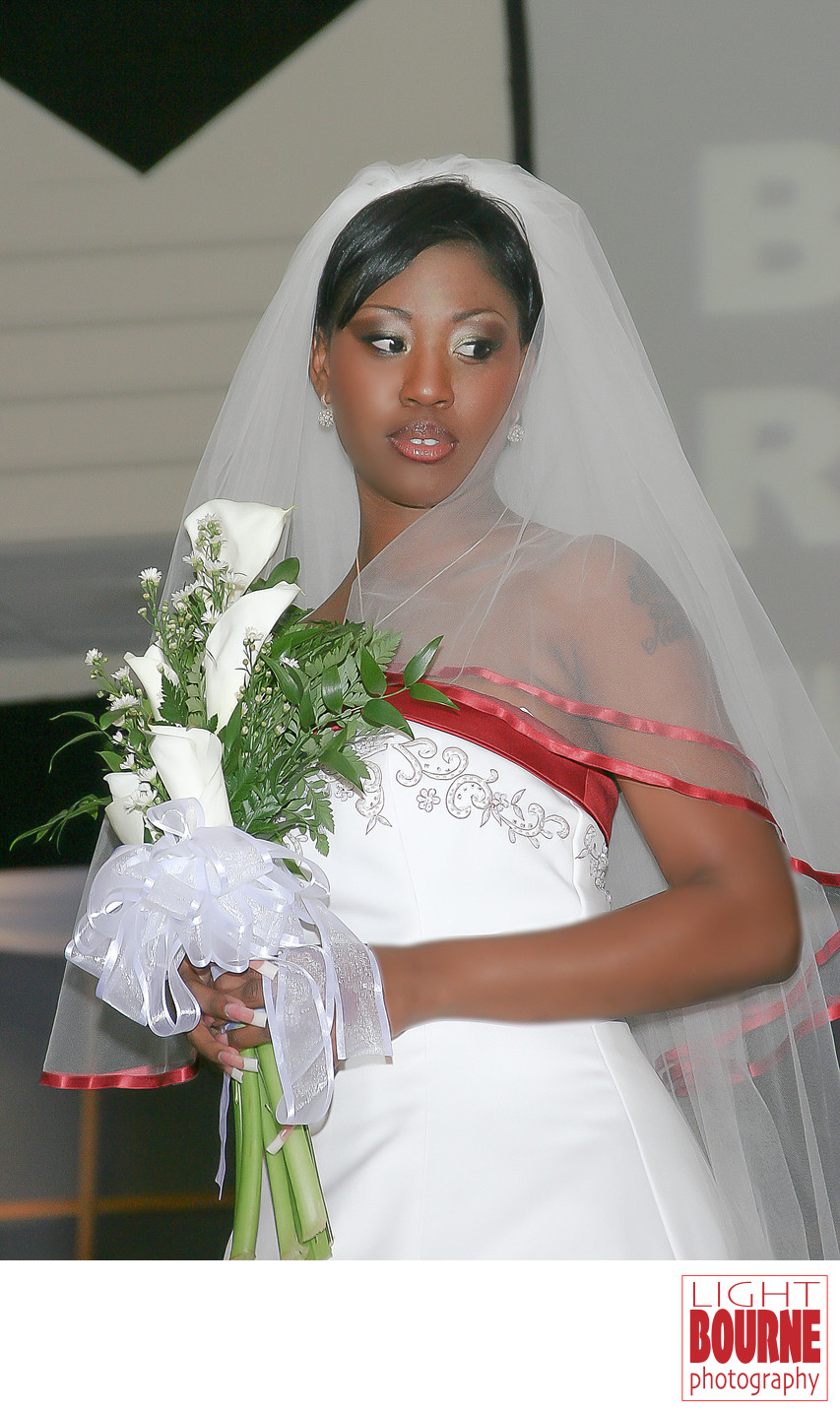Bahamas bride at Button Bridal Show