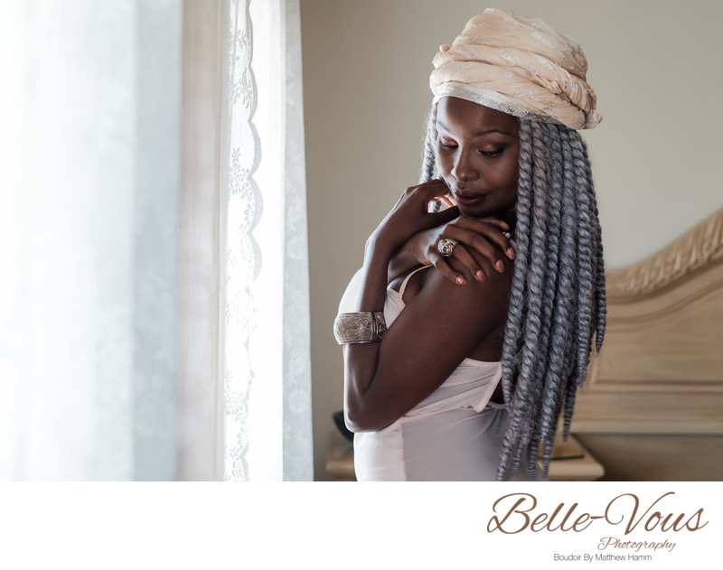 Gorgeous Black Woman Posing For Boudoir Photos