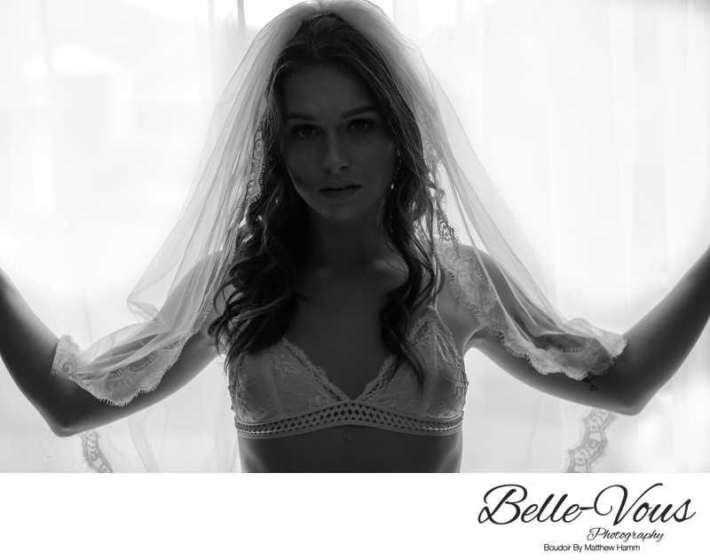 Black And White Bridal Boudoir With Veil