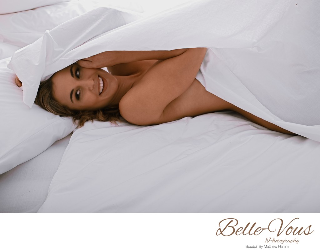 Sexy White Bed Sheet Brisbane Boudoir Photos