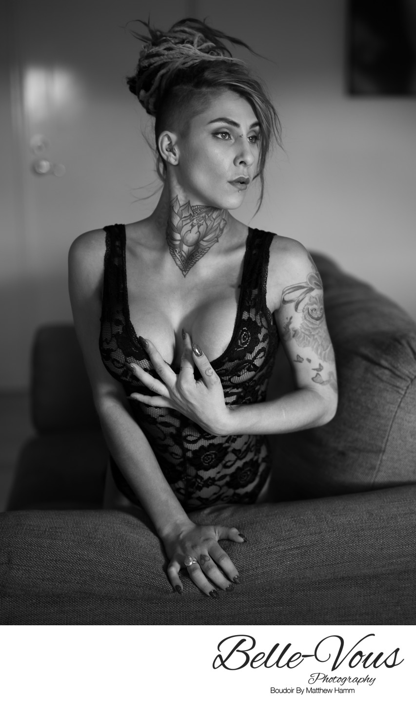 Sexy Boudoir Portrait Of A Woman With Tattoos