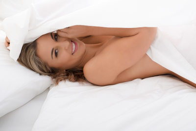 White Bed Sheet Bridal Boudoir Photos