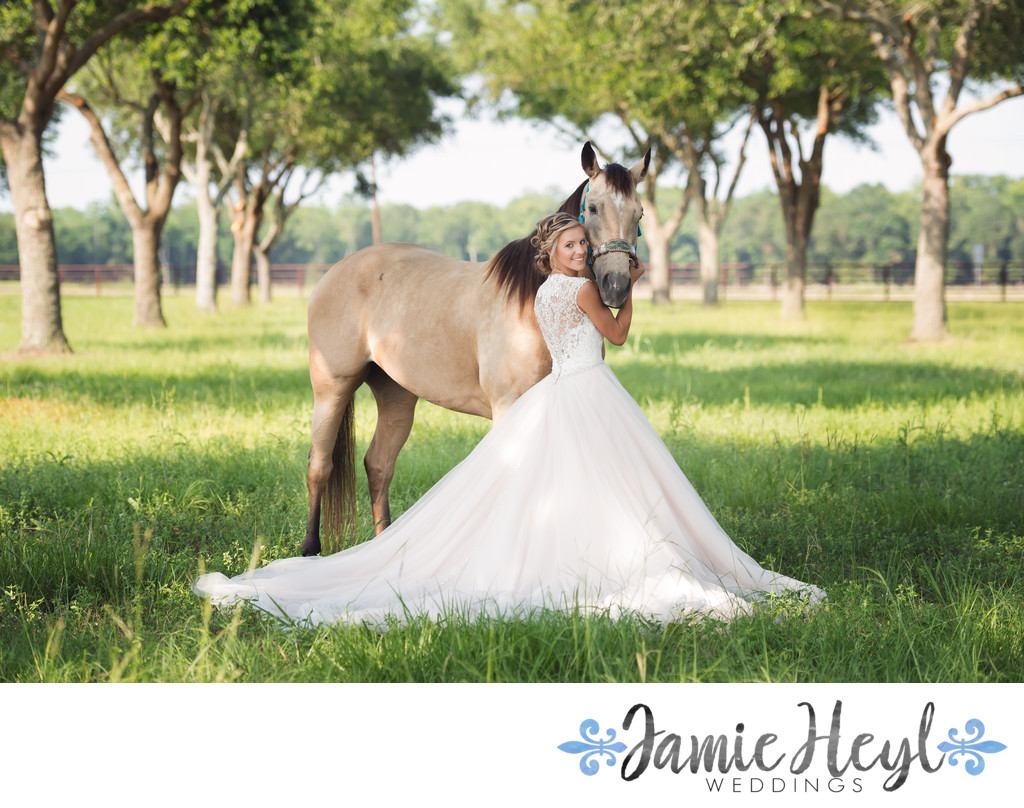 Bride and Horse bridal portrait