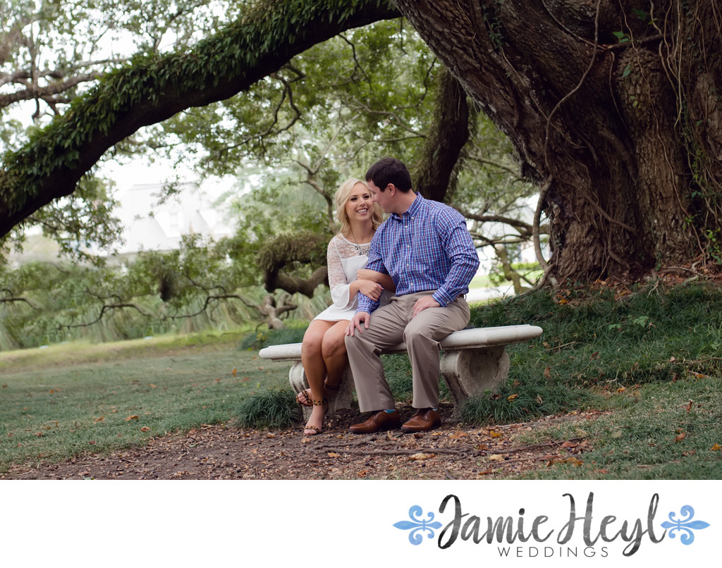 Houma old oak tree engagement session