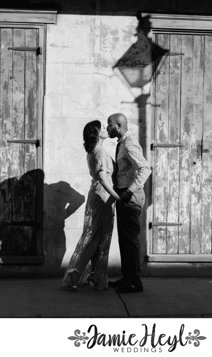 French Quarter black and white engagement photo