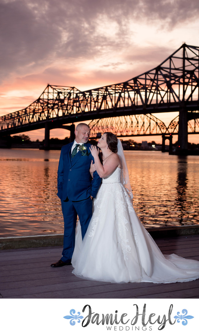 Sunset Wedding Photo Morgan City Riverfront