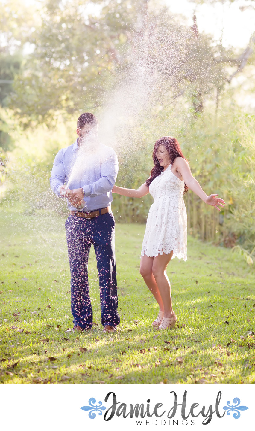 Laurel Valley champagne pop engagement photo