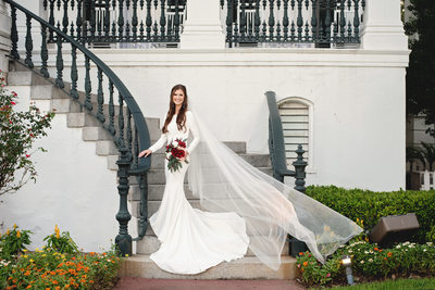 Nottoway Plantation outdoor stair bridal portrait