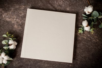 Soft Gray Debossed Signature Leather Album