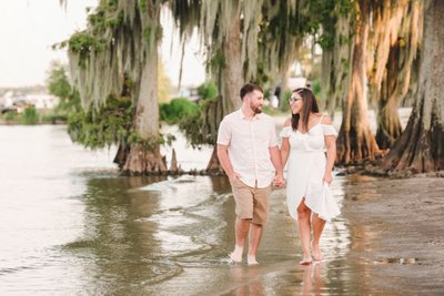 Beach engagement photos in Morgan City