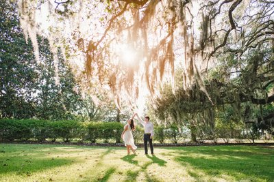 Sunset engagement photos at Golden Ranch Plantation