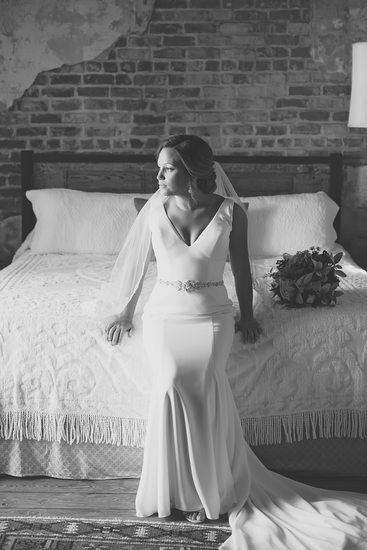 Race and Religious black and white bridal portrait