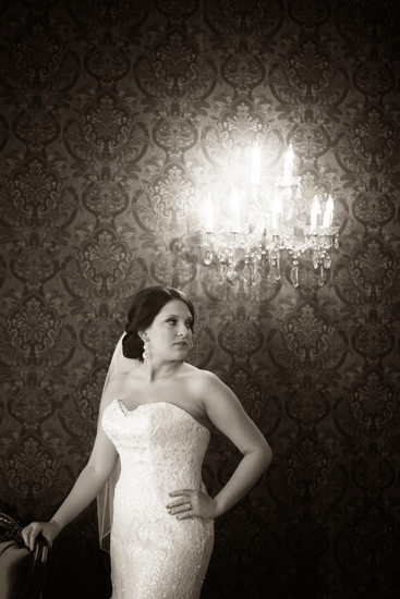 Dansereau House indoor black and white bridal portrait