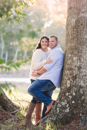 Laurel Valley oak tree engagement photo