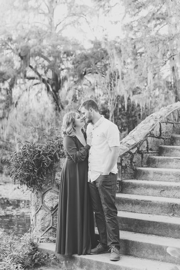 Black and white City Park engagement photo