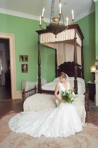 Destrehan Plantation indoor bridal photography