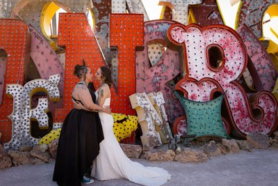 Las Vegas Neon Museum Elopement Destination Wedding