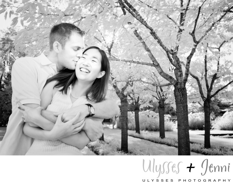 Black White Happy Engagement Photo