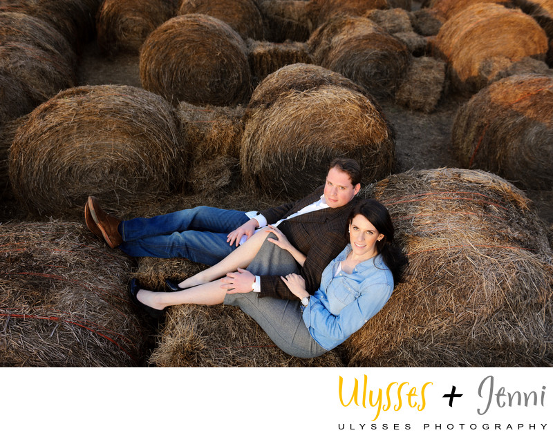 COUPLE IN THE HAY FARM ENGAGEMENT
